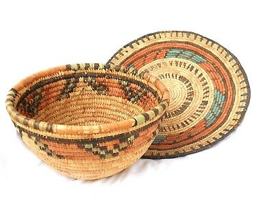 2 Vintage Hand Made Hausa Coiled Baskets Nigerian Native African