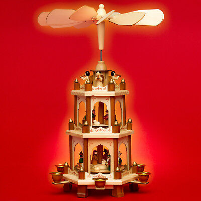 SIKORA P20 Traditional Wooden Christmas Pyramid 3 Levels Wax Candles H: 17.7 in