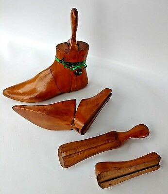 Vintage Pair Wooden 3 Part Boot Stretches Wood Treen Trees Lasts Antique