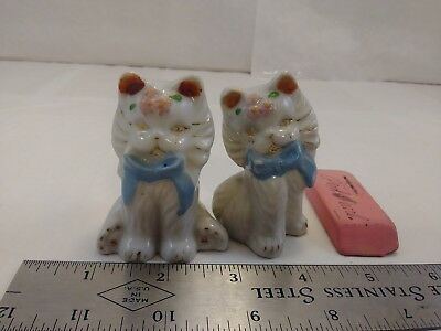 Vintage Kitty Cat Japan Gold Detail Salt And Pepper Shakers CUTE cork stopper
