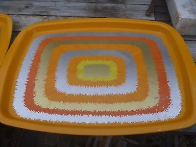 2 X Mid Century Vintage Retro Patterned Metal Rectangular Trays By Anita Wangel