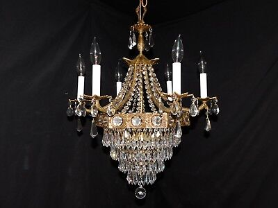 Antique  brass crystal Empire chandelier 9 lights,original crystals