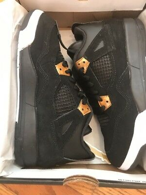 "Jordan Retro 4"" Royalty Black/Metallic Gold- size 3y, women size 4.5"