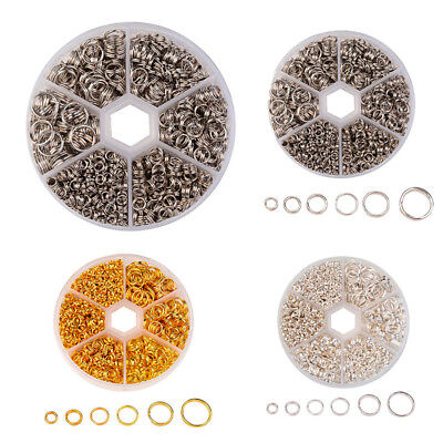 A Box Mixed Size 4/5/6/7/8/10mm Iron Double Jump Rings For Jewelry DIY 3 Color