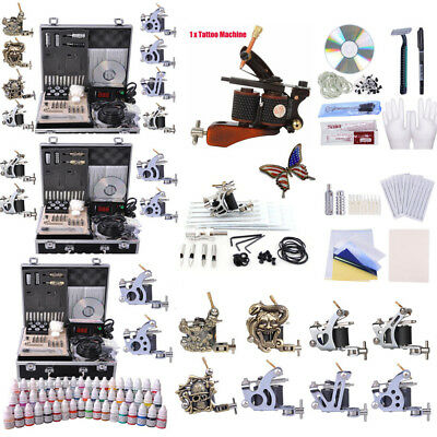 Complete Tattoo Machine 40/54 Color Inks Guns Set LED Power Supply Grips Needles