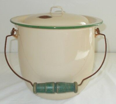 VINTAGE CREAM & GREEN ENAMEL CHAMBER POT SLOP BUCKET WIRE & WOOD HANDLE with LID