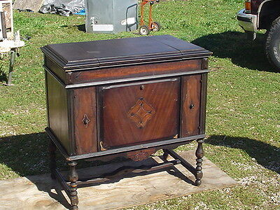 *LPU*** Antique SONORA PHONOGRAPH Hand Crank Record player Wood console cabinet