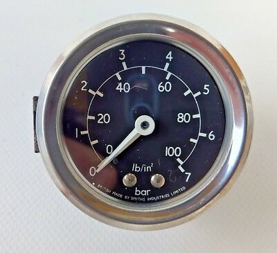 Vintage Smiths 0-100psi 0-7 Bar Oil Pressure 2 Inch Gauge
