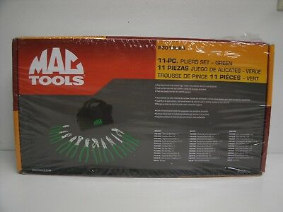 New Mac Tools 11 piece Green Pliers set  New P301998g