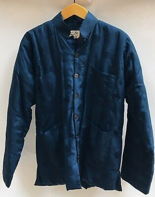 1940 DOUBLE HORSE PURE SILK CHINESE BLUE Quilted MEN'S Unisex JACKET EXCELLENT!