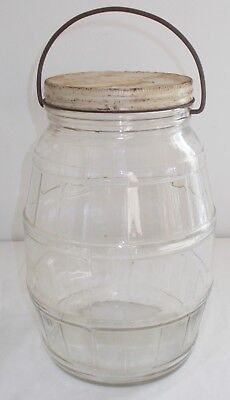 Large Clear Glass Pickle Barrel Store Jar w/ Metal Lid Wire Bail  Handle Vintage