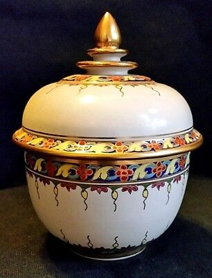 Thailand Benjarong Porcelain Bowl Covered Dish Decorative Spice Container