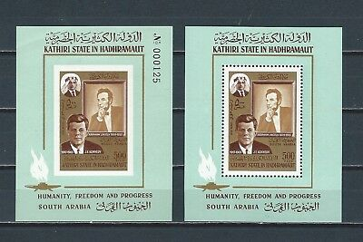 Middle East Aden States Kennedy JFK perf & imp stamp sheets - high catalog