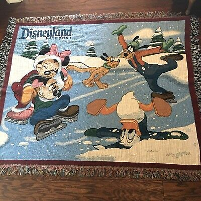 Disneyland Resort Woven Tapestry Throw Blanket 50x60 Mickey and Friends Skating