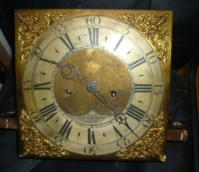 18th Century 8 Day Longcase Movement With 11ins Square Brass Dial Lucchesi Cambs