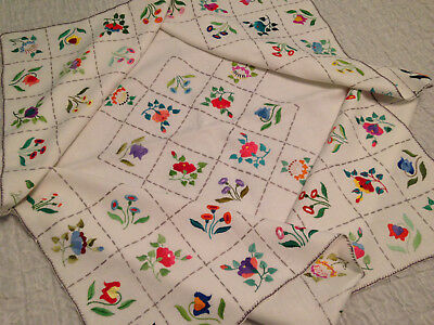 Vintage Hand Embroidered White Linen Tablecloth ~  Exquisite Flowers