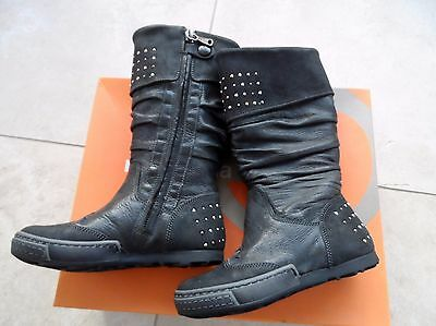 Rondinella Italian designer Black Leather Boot knee high UK 7.5 EU 25 RRP £96