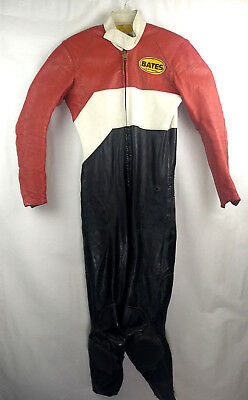 Vtg Retro Bates Leathers Rare One Piece Suit Motorcycle Racing Biker Red Black S