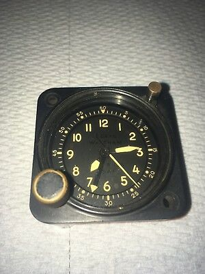 Waltham Precision A-13A-1 Aircraft Chrono Clock  White Numbers And Hands 1957