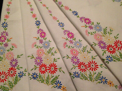 Vintage Hand Embroidered Tablecloth  ~ Beautiful Delicate Embroidery