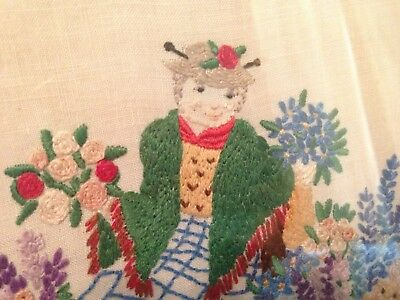 Gorgeous Vintage Hand Embroidered Picture ~ Charming Lady Flower Seller