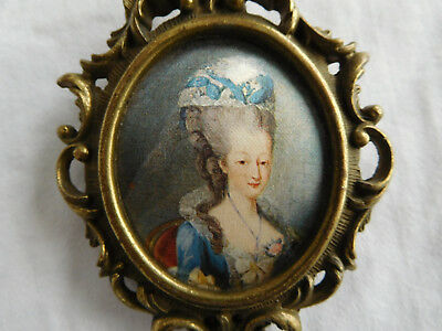 Vintage Marie Antoinette Small Miniature Framed Portrait on Silk Made In Italy