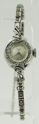 Vintage Ladies 14K White Gold Diamond Elgin 19 Watch 14 Grams Women's 830 23J