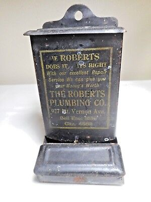 Vintage Tin Metal Wall Mount Match Box With Advertising On Front