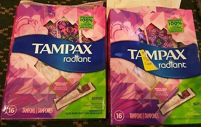 2x Tampax Radiant Plastic Unscented Tampons Super Absorbency 32 Count Sealed