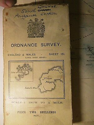"West Cornwall And Isle Of Scilly 1905-1908-11: Antique 1"" Ordnance Map On Linen"