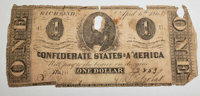 1863 $1 One Dollar Confederate States of America Richmond Notes Details: Damaged