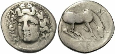 FORVM Larissa Thessaly Silver Drachm 356-342 BC Nymph Facing / Horse Rolling