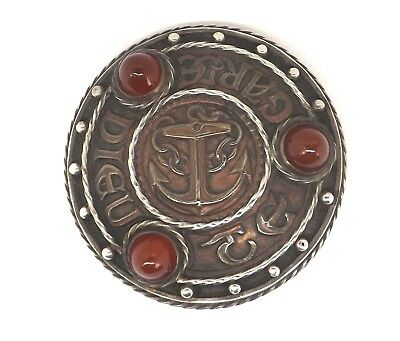Omar Ramsden Targe Kilt Brooch Arts & Crafts Sterling Silver Copper London 1919