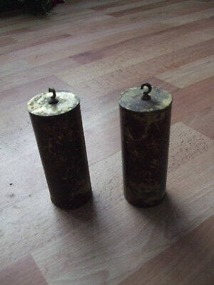 Antique clock weights,two heavy brass and lead weights