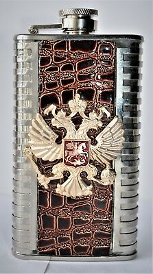 Russian Coat of Arms Flask 6 FL ounce or 177ml Stainless Steel