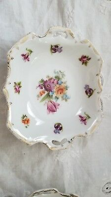 Prov Sixe Es Germany 1862-1902 2 Handled Tray Floral & Gold