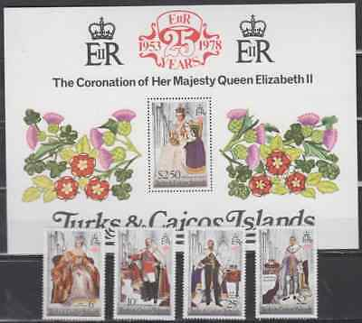 Turks & Caicos Islands 1978 Coronation Complet Set & Min Sheet Mint Never Hinged