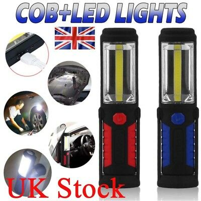 UK Rechargeable COB LED Hand Torch Lamp Magnetic Inspection Work Light Flexible