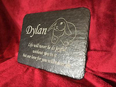 Lop Eared Bunny Rabbit Memorial Slate Plaque, Personalised with Any Message