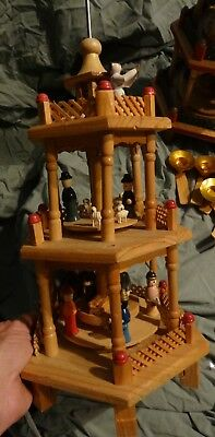 "Vintage WOOD Mini NATIVITY Carousel Christmas CANDLE Wind MILL Large 16"" parts"