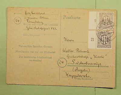 DR WHO 1946 GERMANY FLENSBURG AMG MILITARY POST PLATE # POSTCARD  d66392