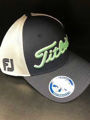 Titleist Tour Sport Mesh Fitted Hat Cap Navy /white *Moisture Wicking Fabric*