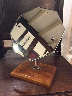 Art Deco Adjustable Oak And Chrome Stylish Bathroom Mirror Dressing Ladies Gents