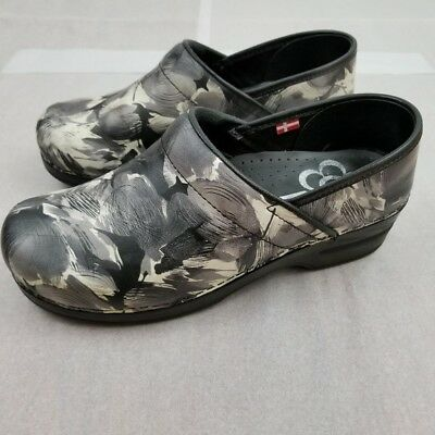 Sanita Danish Professional Black Gray White Clogs Womens Size Euro 39