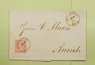 DR WHO 1869 GERMANY LEEB RPO CANCEL F/L TO AURICH d66409