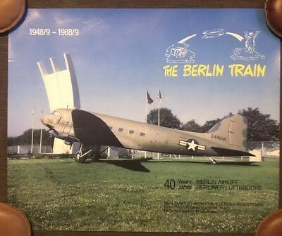 "German 1988 40th Anniversary Poster ""The Berlin Train"" - Berlin Airlift - WW2"