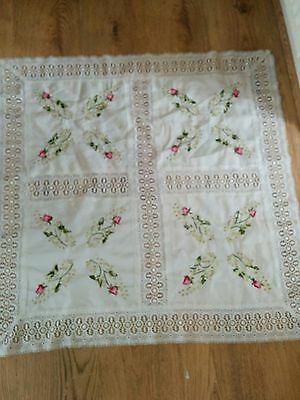 Beautiful Vintage Hand Made Square Table Cloth