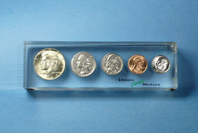 Delco Electric Motors Acrylic Lucite Paperweight 1960s Coin Set