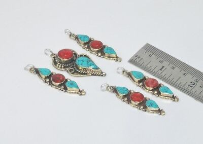 Jewellery & Watches Mixed Lots Wholesale 5pc 925 Tibetan Brass Red Coral Turquoise And Mix Stone Pendant Lot