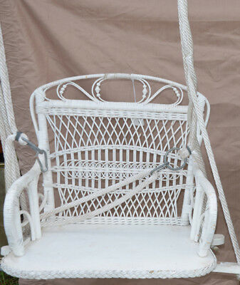Vintage Child Size White REAL Wicker Rattan Swing Chair Photography Prop